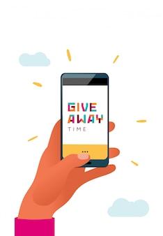 Hand met telefoon met een giveaway type op een scherm.