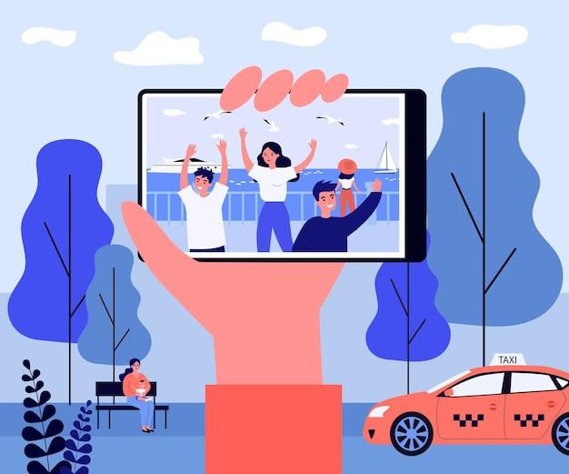 Hand met telefoon met foto aan de kust. vriend, geheugen, stad platte vectorillustratie