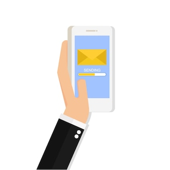 Hand met telefoon met gesloten envelop en voortgangsbalk op het scherm