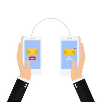 Hand met telefoon met gesloten envelop