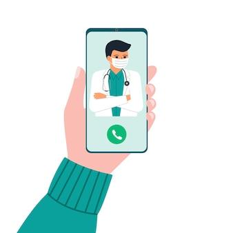 Hand met telefoon met man arts op afroep en een online consult. smartphonescherm met therapeut. vraag dokter. online medisch advies, consultatiedienst. vlakke afbeelding.