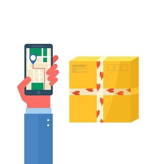 Hand met telefoon met sjabloon voor online bezorgserviceconcept met kartonnen pakketten en bezorgpictogrammen. webpagina met postpakketten, pakken, dozen. vector landingsontwerp