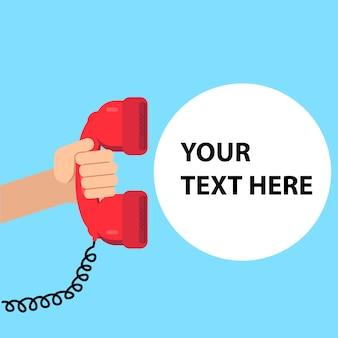 Hand met telefoon. ondersteunende service
