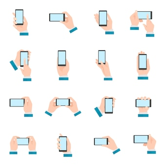 Hand met telefoonpictogrammen
