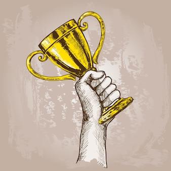 Hand met trofee
