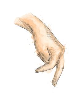 Hand met vingers die iemand simuleert die uit een scheut aquarel loopt, handgetekende schets. illustratie van verven