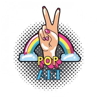 Hand met vredesteken en liefde pop-art