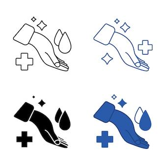 Hand met waterdruppel en medisch kruis handen wassen symbool antibacteriële pictogrammen huidverzorging teken