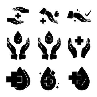 Hand met waterdruppel en medisch kruis medisch goedgekeurde labels klinisch geteste insigne-stempel