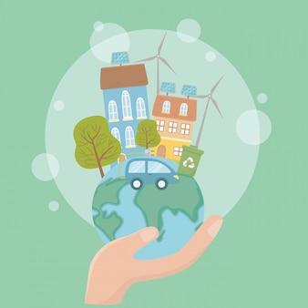 Hand met wereld en denk groen ontwerp