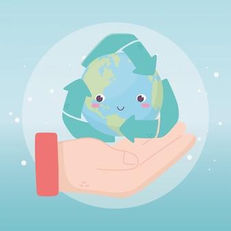 Hand met wereld recycle pijlen milieu ecologie