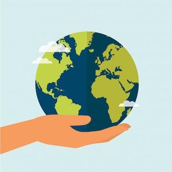 Hand met wereld