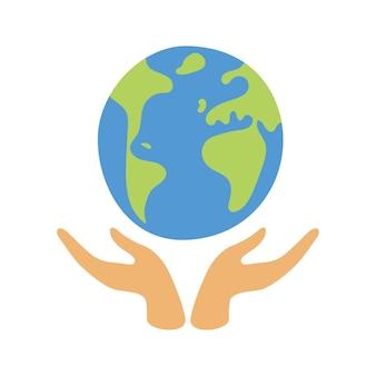 Hand met wereldbol aarde. milieubescherming concept. vlakke afbeelding geïsoleerd