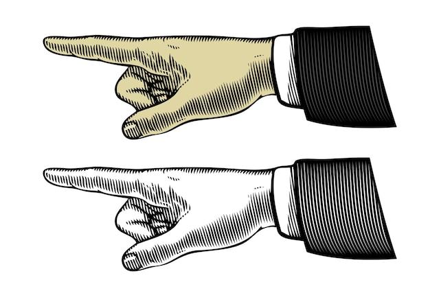 Hand met wijzende vinger in vintage gravure stijl.