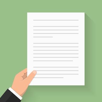 Hand met witboek met tekst - document, contract, overeenkomst, krant, enz