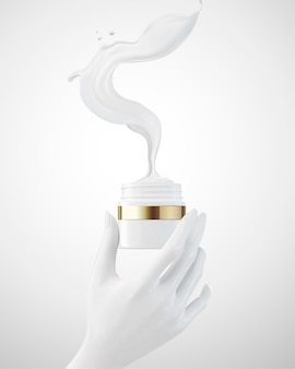 Hand met zalfpotje met vloeistof die uit het pakket in 3d illustratie vliegt