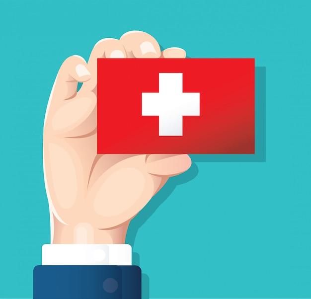 Hand met zwitserland vlag kaart