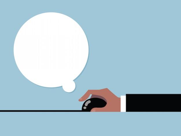 Hand om muis- en tekstballon te klikken. vector cartoon