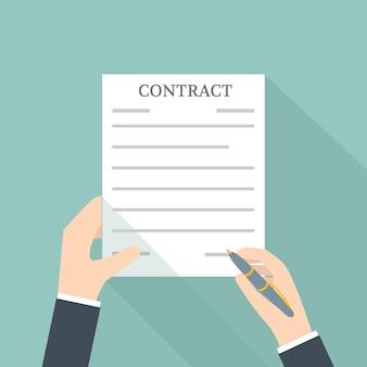 Hand ondertekening contract