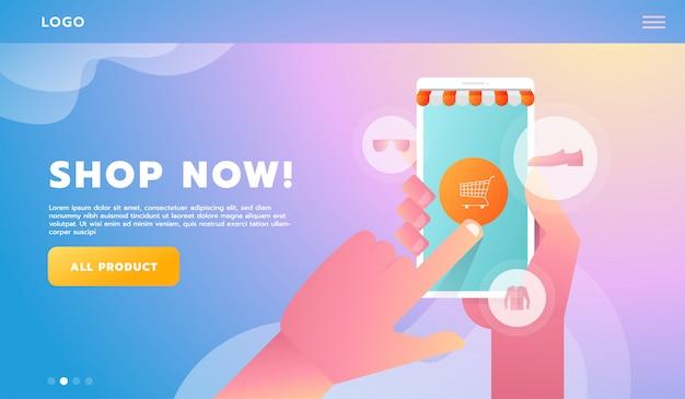 Hand online bedrijfsconcept conceptuele vlakke stijl winkelen. vector illustratie. voor workflowsjabloon
