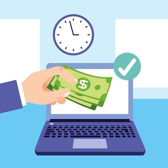 Hand online storten van contant geld concept cartoon afbeelding