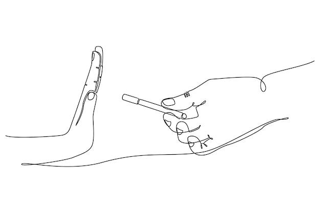 Hand ononderbroken lijntekening die sigaretten geeft gezond het leven concept vectorillustratie