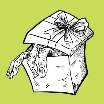 Hand op de doos