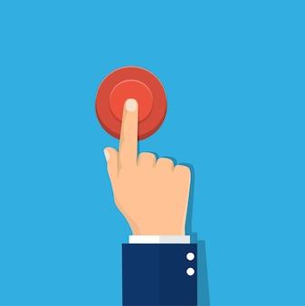 Hand op rode knop te drukken