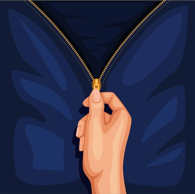 Hand open zip kleding jeans of jas symbool concept in cartoon afbeelding