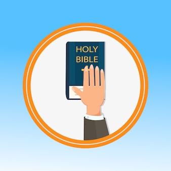 Hand, palm op de heilige bijbel