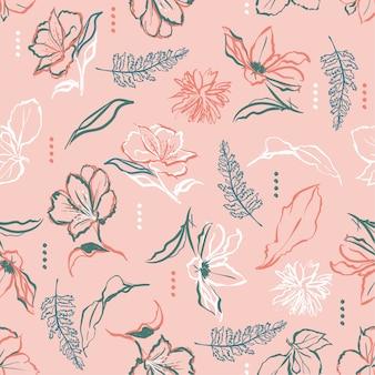 Hand penseel streken lijn van bloemen vector naadloze patroon