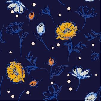 Hand penseel streken lijn van botanische bloemenpatroon