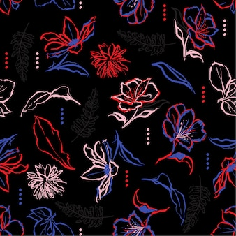 Hand penseel streken lijn van donkere bloemen patroon
