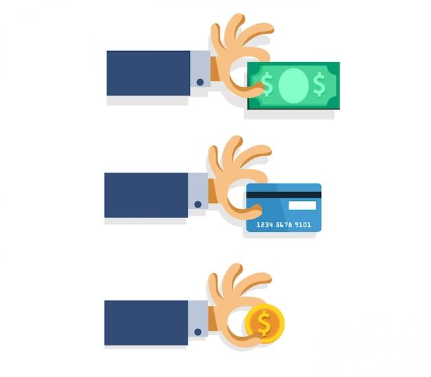 Hand pluk geld, munt en creditcard cartoon illustratie.