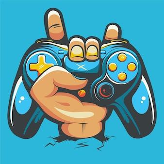 Hand rock met playstation stick controller cartoon afbeelding premium vector