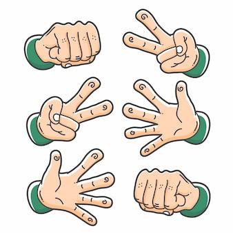 Hand rock papier en schaar illustraties