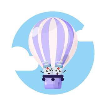 Hand sanitaire luchtballon karakter schattig
