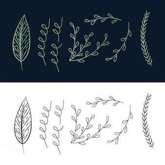 Hand schets floral ontwerpelementen