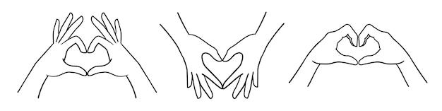 Hand schets toont hart vorm gebaar hand tekenen lijn kunst vectorillustratie