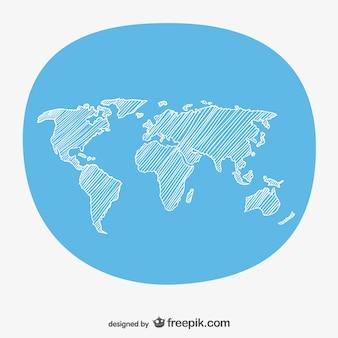 Hand schets wereldkaart