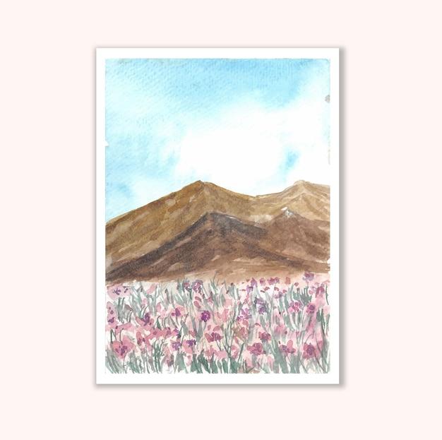 Hand schilderij bergen en bloemenvelden aquarel