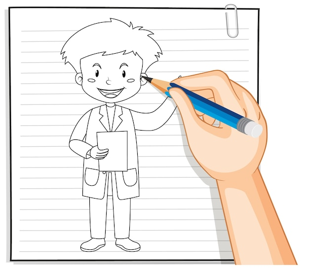 Hand schrijven van dokter man overzicht