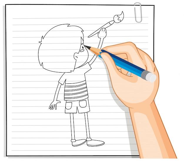 Hand schrijven van jongen schilderij overzicht