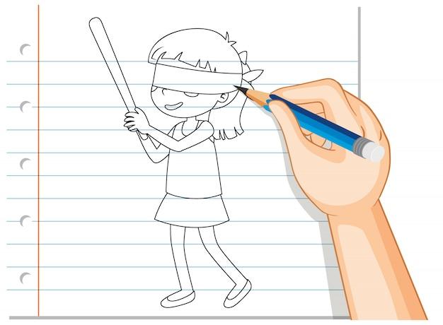 Hand schrijven van meisje blinddoek overzicht