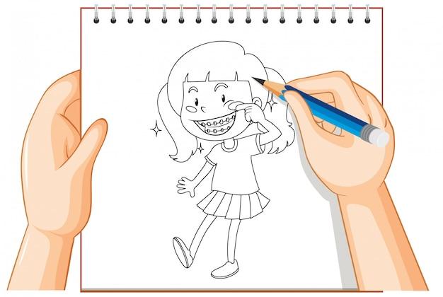 Hand schrijven van meisje glimlach met accolades omtrek