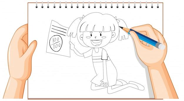 Hand schrijven van meisje met goede examen teken overzicht