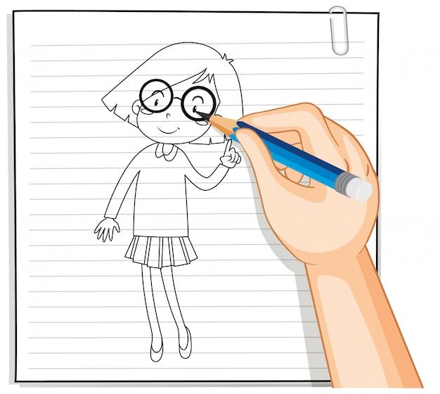 Hand schrijven van nerdy meisje schets