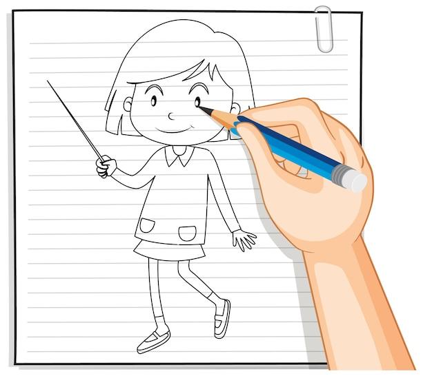 Hand schrijven van schattig meisje met toverstaf overzicht