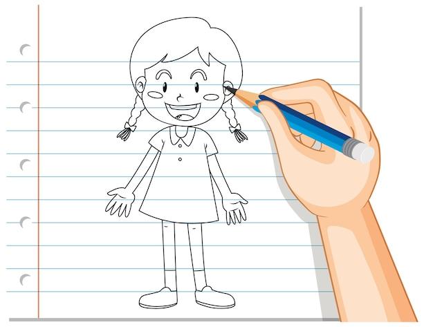 Hand schrijven van schattig meisje overzicht