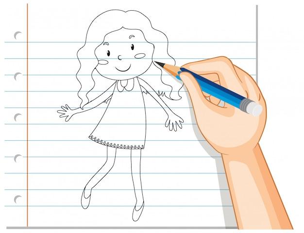 Hand schrijven van schattige krul lang haar meisje overzicht